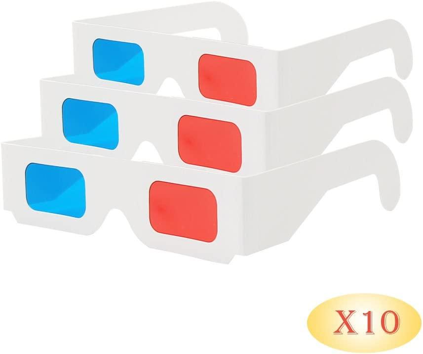 EasiLife 10 pairs 3D Glasses - Red and CYAN Anaglyph, White Multipack