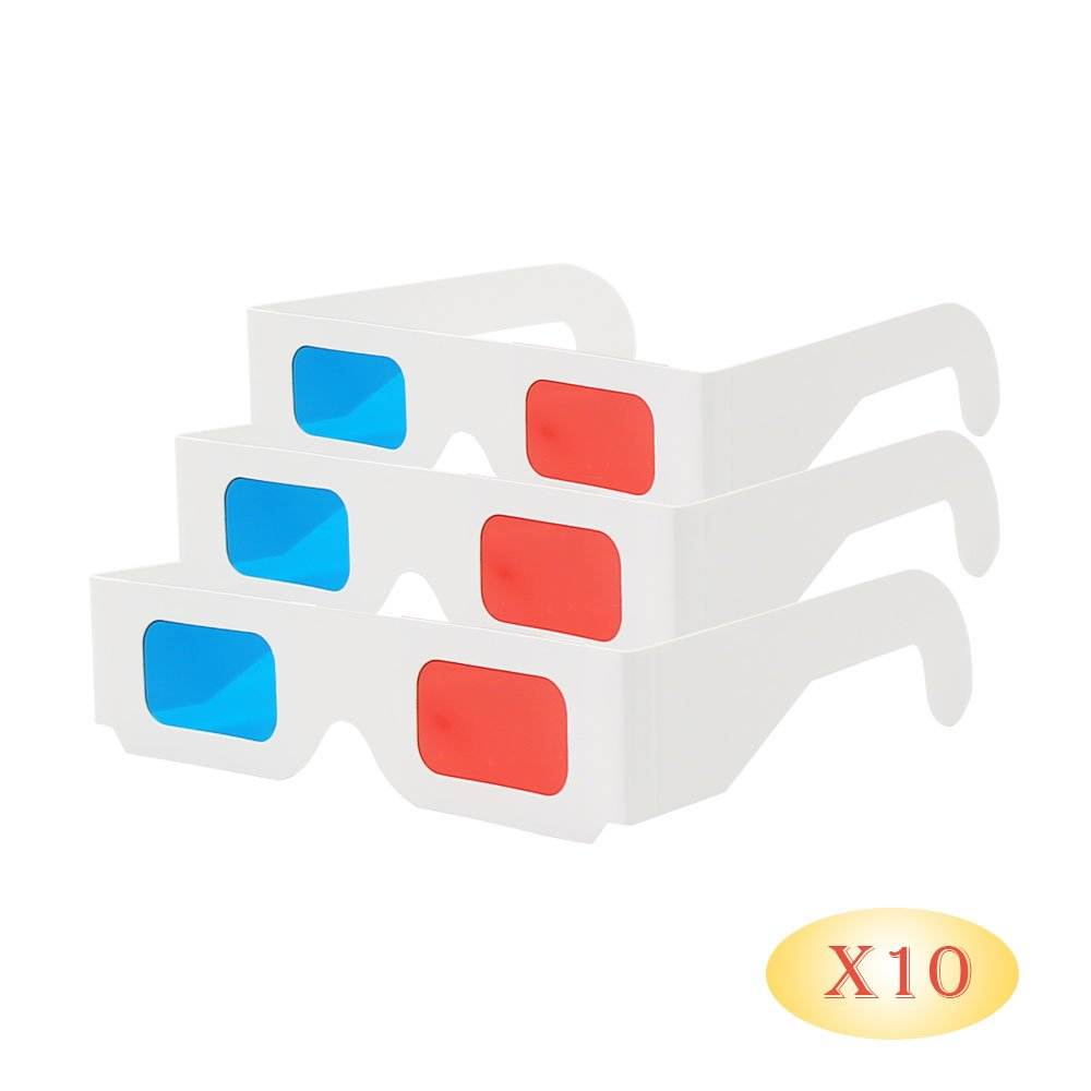 Red and CYAN Anaglyph EasiLife 10 pairs 3D Glasses White Multipack