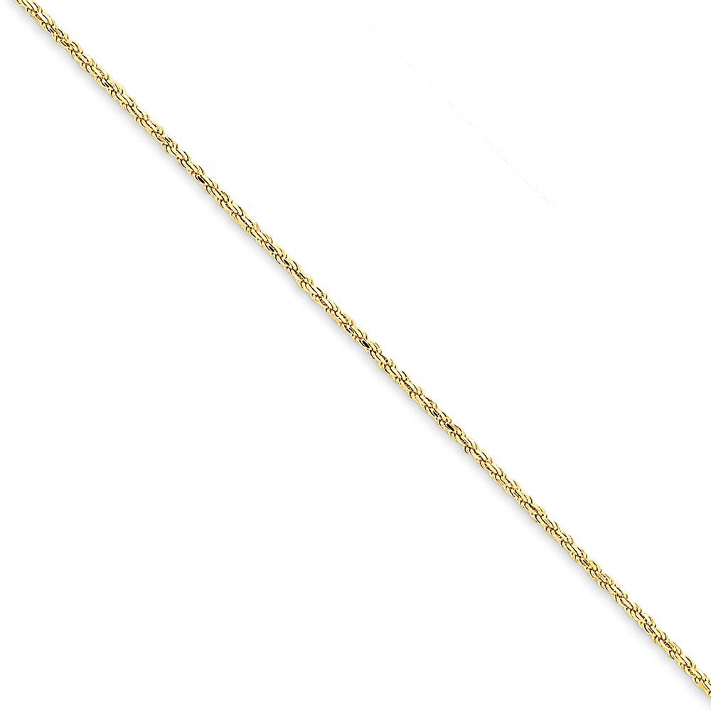 14K Yellow Gold 1.3mm Solid Diamond-Cut High Polished with Lobster Rope Necklace Chain -9'' (9in x 1.3mm) by Mia's Collection (Image #1)