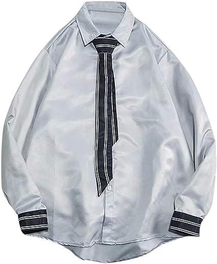 ForgetMe - Camisa y Corbata para Hombre de Manga Larga, Corte Ajustado, Casual, con Botones: Amazon.es: Ropa y accesorios