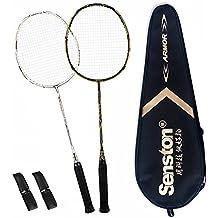 Senston 100% Full Carbon Fiber Badminton Set Graphite Badminton Racket Set Graphite Badminton Racquet with Racket Cover