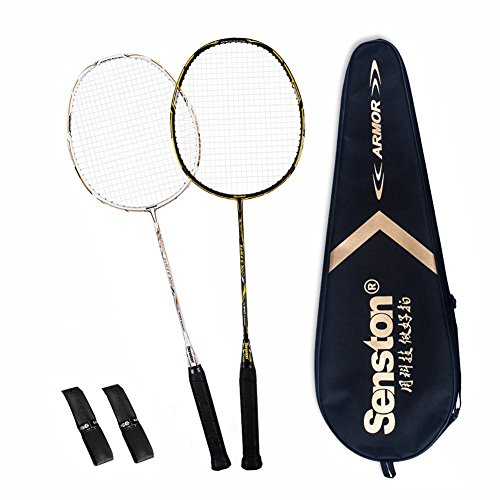 Senston 2 Full Graphite Badminton Racket Set Full Carbon Badminton Racquet(Black+White) with Racket Cover and 2 overgrip