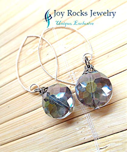 Afrocentric Jewelry - Sterling Silver Dipped Crystal Earrings - Handmade by Joy Rocks Jewelry