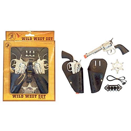 Déguisement Fete–Costume de CowBoy–2Cartouches Holster 2Pistolet Revolver Chaîne étoile de shérif, multicolore
