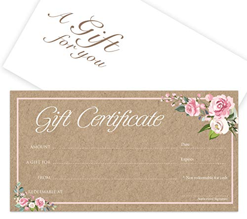 Blank Gift Certificates 25set - Rose Kraft - Comes with Free matching Envelopes - Small Business, Spa, Makeup,Hair Beauty Salon,Restaurant,Wedding Bridal,Baby Shower,Holiday,Christmas,Birthday ()