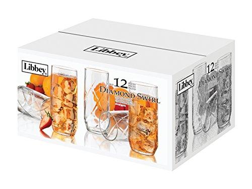 Libbey Diamond Swirl 12-Piece Glassware Set, 16-Ounce, Clear