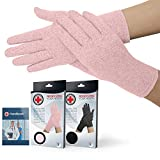 Doctor Developed Full Fingered Compression Gloves (Pink) and Doctor Written Handbook - Relief for Joint Conditions (Osteo/Rheumatoid), Raynauds Disease & Carpal Tunnel (M)
