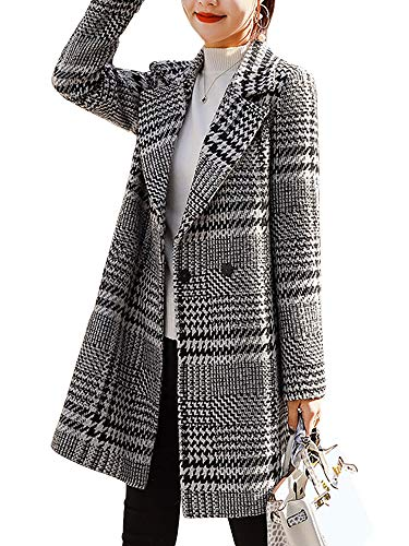 (AUSZOSLT Women's Hoodie Plus Size Jacket Wool Blend Duffle Toggle Pea Coat Grey S)