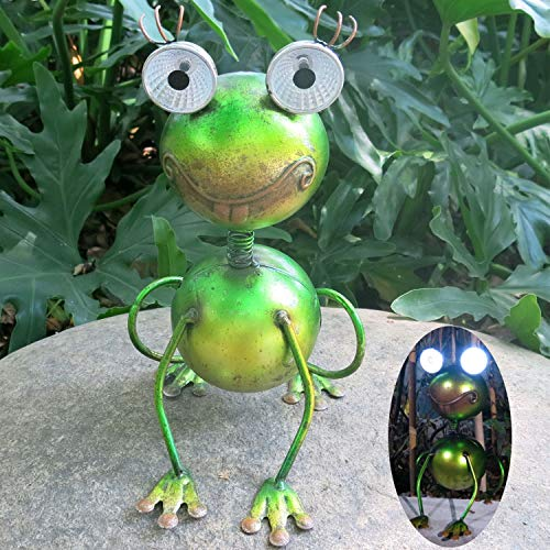 Frog Solar Lights Metal Arts Lights Garden Decoration Lawn Cute Animal LED Lamp for Yard Pathway (Metal Outside Art For)