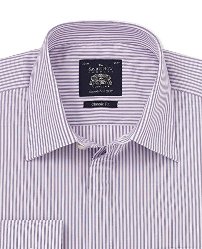 - Savile Row Men's Purple Bengal Stripe Classic Fit Shirt - Barrel Cuff 18 1/2