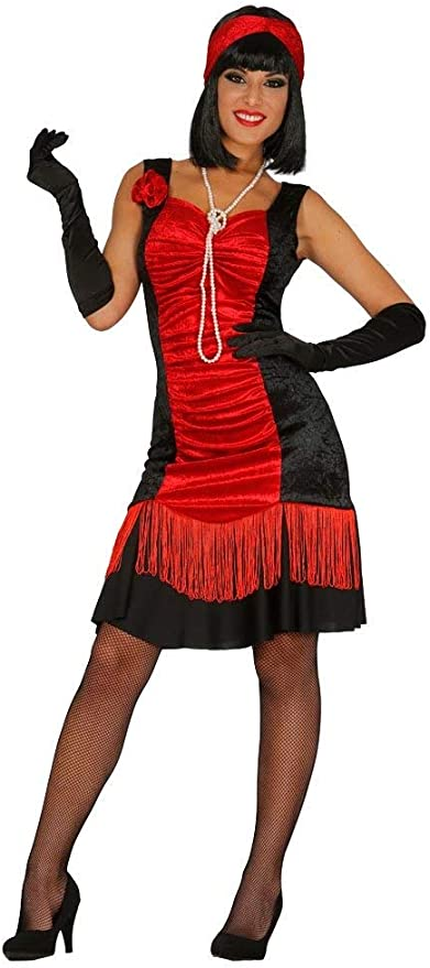 FIESTAS GUIRCA Disfraz de Mujer Charleston Rojo y Negro: Amazon.es ...