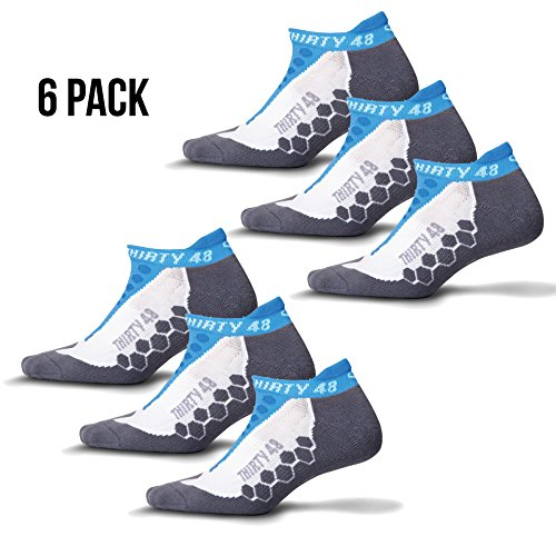 Thirty48 Running Socks Unisex, CoolMax Fabric Keeps Feet Cool & Dry