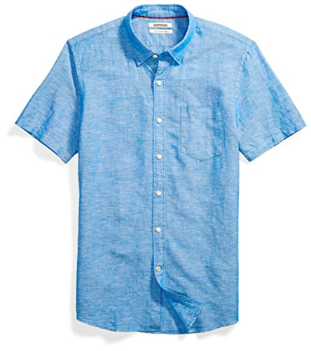 Goodthreads Men's Slim-Fit Short-Sleeve Linen and Cotton Blend Shirt, Bright Blue, Medium by Goodthreads
