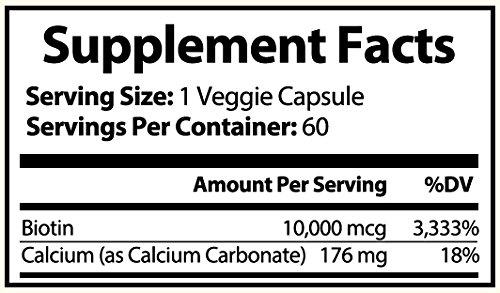 Amazon.com: Biotina 10,000 mcg pura, 60 CT | Suplemento para ...
