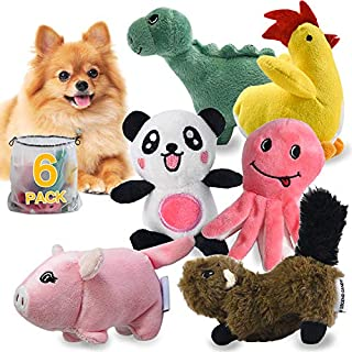 LEGEND SANDY Squeaky Plush Dog Toy Pack for Puppy, Small Stuffed Puppy Chew Toys 6 Dog Toys Bulk with Squeakers, Cute Soft Pet Toy for Small Medium Size Dogs