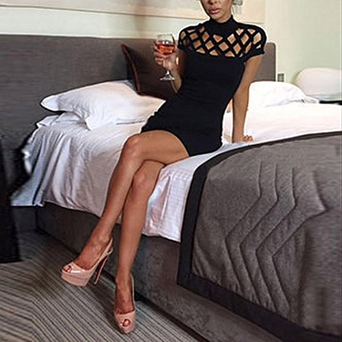 Sleeves Womens Bodycon Choker Caged Mini Dress Ladies Black Neck Creazy High g0wqWd6FF