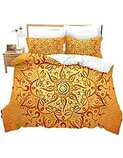 feelyou Golden Mandala Bedding Cover 2 Pcs Kids Girls Women Floral Print Decor Duvet Cover Boho Style Pattern Bedspread Cover Soft Exotic Comforter Cover Twin Bedding Decoration Gift