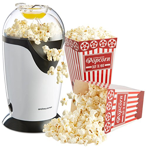 Andrew James Hot Air Popcorn Maker Machine in White, Oil Free, Includes Measuring Scoop, Butter Melting Lid, Cool Touch Top and 4 Cinema Style Boxes