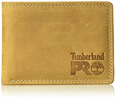 Timberland PRO Men's Leather RFID Wallet with Removable Flip Pocket Card Carrier