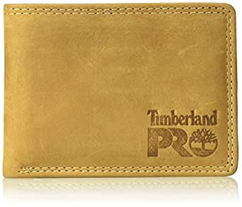 Timberland PRO Men's Leather Wallet with Removable Flip Pocket Card Carrier, Wheat/Pullman