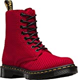 Dr. Martens Women's Page 8 Eye Boot,Dark Red Waffle Cotton,UK 9 M