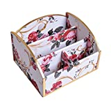 DRAGON SONIC Beautiful Flowes Pattern Desk Storage Box Desktop Storage Chest