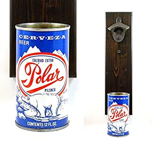 Wall Mounted Beer Bottle Opener With A Polar Bear Cerveza Beer Can Cap Catcher