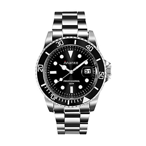 Black Dial Auto (ANANKE Men's Quartz Waterproof Luminous Stainless Steel Silver Wrist Watch with Auto Date Black Analog Dial Rotatable Bezel)