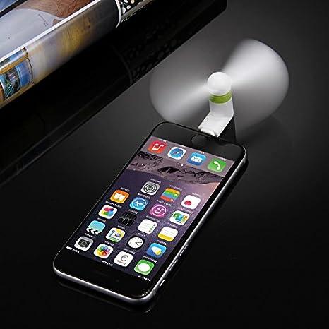 Blanco 3.5 Pulgadas de Moda port/átil 8 Pin tel/éfono Mini Ventilador USB con Dos Hojas para iPhone 6 y 6 Plus//iPhone 5 /& 5S HAWEEL Ventilador del tel/éfono del USB iPad Aire