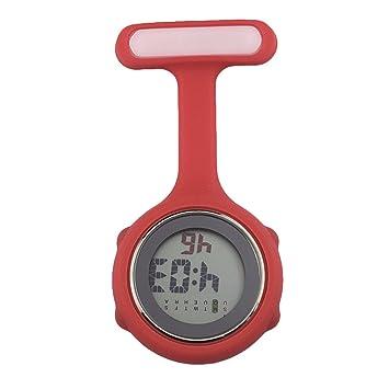 Mxssi Nurse Digital Watch Brooch Reloj Colgante Bolsillo Trabajo Paramédico Color Sólido Silicona Inhibición Bacterias Cuidado