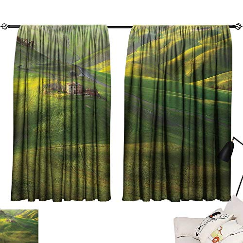 Denruny Fabric Shower Curtain Liner Tuscan,Sunset Scenery with Hills 54