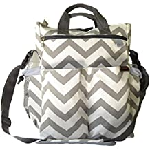 Catwald Chevron and White Canvas Design Polyester Cotton Diaper Bag with Adjustable Stroller Strap and 11 Pockets