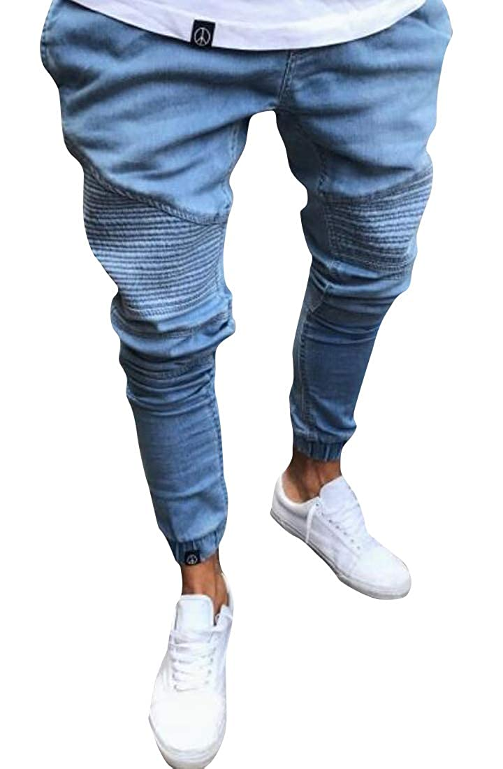 WAWAYA Mens Ruched Mid Rise Stretchy Casual Slim Fit Jogging Jeans Denim Pants