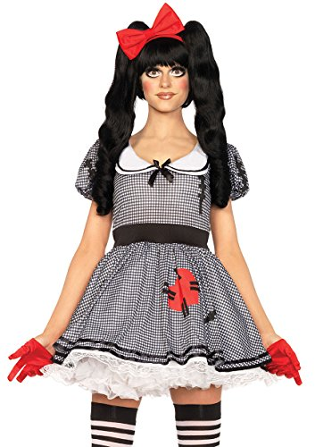 Leg Avenue Women's Wind-Me-Up Dolly Costume, Black/White,