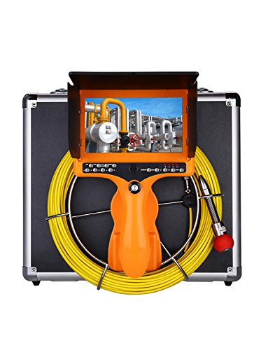 15ft Pipe Pipeline Sewer Inspection Camera, Portable Drain Plumbing Wall Industrial Endoscope Waterproof IP68 Snake Video System with 7 Inch LCD Monitor 1000TVL Camera DVR Recorder ()