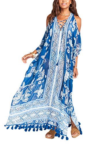Blue Loose Cold Shoulder Beach Cover Ups Swimwear Chiffon Swimsuit Long Dress