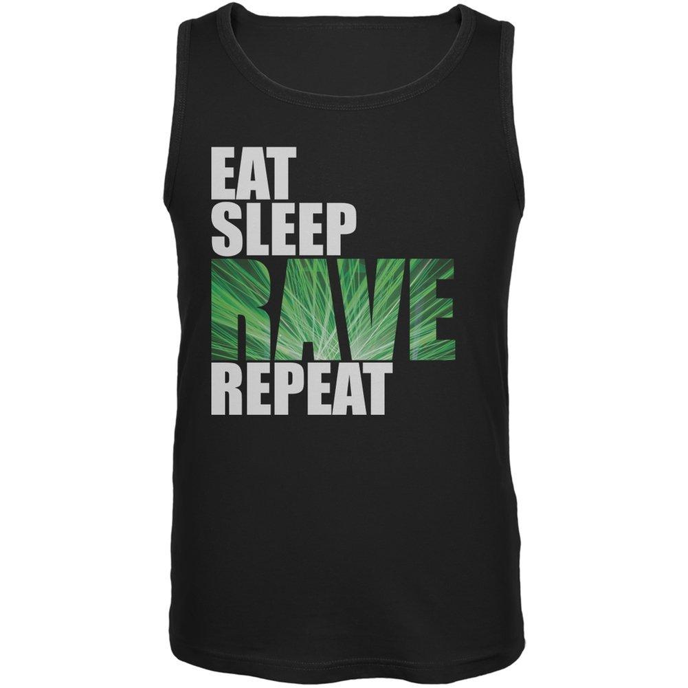 Eat Sleep Rave Repeat Black Adult Tank Top