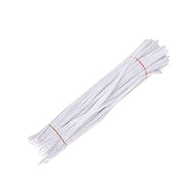 100 Pieces Chenille Stems Pipe Cleaners for Kids Craft Educational Toys 300 x 6 mm White: Arts, Crafts & Sewing