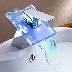 Ouku Deck Mount Modern Single Handle Widespread Waterfall Bathroom Vessel Sink LED Faucet Chrome Bath Tub Mixer Taps Bathtub Faucets Cheap Discount Unique Designer Plumbing Fixtures Single Hole Direct Roman Vanity Glacier Bay Faucets