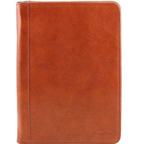 Tuscany Leather - Luigi XIV - Porte-document en cuir avec fermeture glissière - Miel - Homme