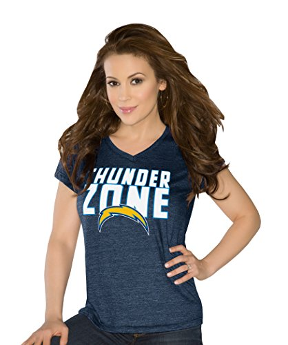 San Chargers Womens Diego (Touch by Alyssa Milano NFL San Diego Chargers Women's Alumni Tri-Blend Short Sleeve V-Neck Top, Small, Navy)