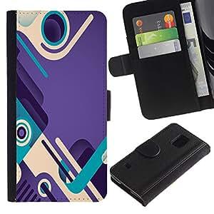 Paccase / Billetera de Cuero Caso del tirón Titular de la tarjeta Carcasa Funda para - purple teal abstract design shoes loop - Samsung Galaxy S5 V SM-G900