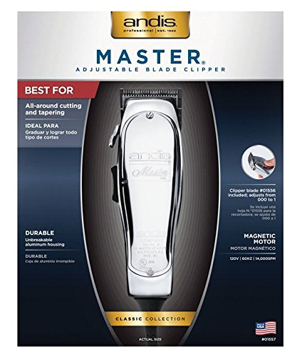 Andis Master Hair Adjustable Blade Clipper, Silver with a BeauWis Blade Brush by Andis (Image #5)