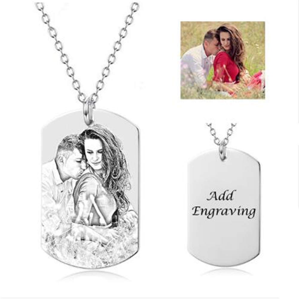 Bon Soir Pendant Necklaces Photo Engraved 925 Sliver Dog Tag Necklace Men Custom Picture Necklaces with Personalized Letter Engraving