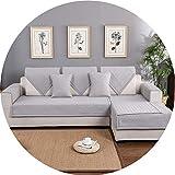 Sofa Mats Cotton Non-Slip Sofa Cover Multi-Size Sofa Cover Non-Slip Decorative Couch Cover for Living Room Simple Design 1PC,Grey,110x210cm