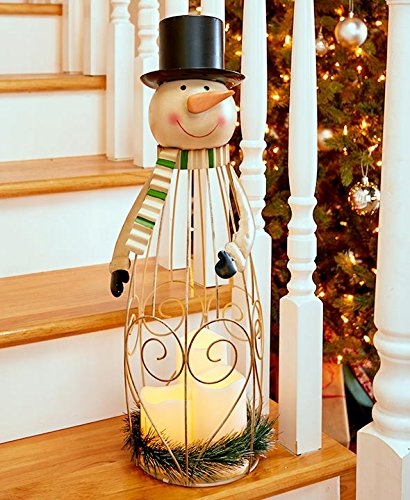LED Candle Holiday Lantern - Snowman -