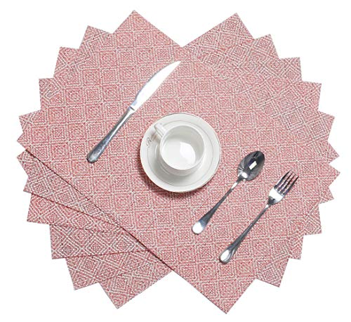 HEBE Placemats Set of 6 Holiday Placemat for Dining Table Woven Vinyl Placemats Heat-Resistant Stain Resistant Washable Kitchen Table Mats Wipe ()