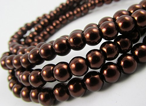 Glass Pearl Finish Round Tiny Beads Dark Deep Brown Chocolate Mocca for Handmade Jewerly Necklace Bracelet Beading Supplies faux pearls TOP quality C35 -