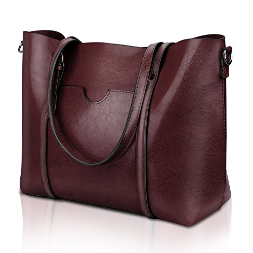 - Women Top Handle Satchel Handbags Shoulder Bag Tote Purse Greased Leather Iukio