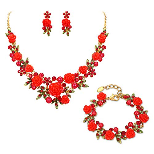 - EVER FAITH Crystal Simulated Pearl Rose Flower Leaf Necklace Earrings Bracelet Set Red Gold-Tone